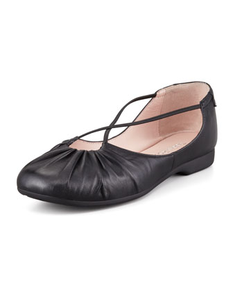 Bryan Ruched Crisscross Ballerina Flat, Black