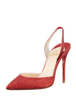 Christian Louboutin Ever Glitter Halter Red Sole Pump