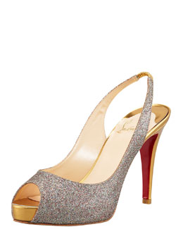 Christian Louboutin No Prive Glittered Red Sole Slingback Pump