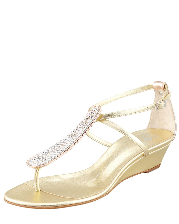 Womens Strass T Strap Wedge Sandal, Gold   Giuseppe Zanotti
