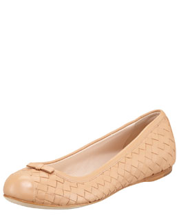 Bottega Veneta Woven Leather Ballerina Flat, Tan