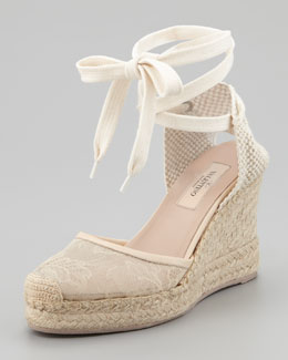 Valentino Lace-Covered Espadrille Wedge, Nude