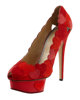 Love Me Heart-Applique Pump, Red