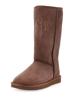 Monogrammed Classic Tall Boot, Chocolate