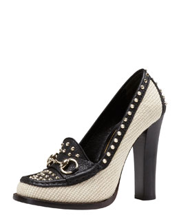 Gucci Studded Straw High-Heel Loafer