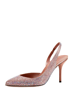 Gucci Crystal-Covered Pump, Desert Rose
