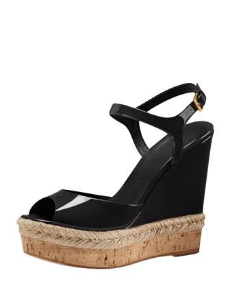 Patent Espadrille Wedge Sandal, Black