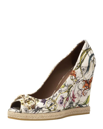 Floral Canvas Wedge Pump