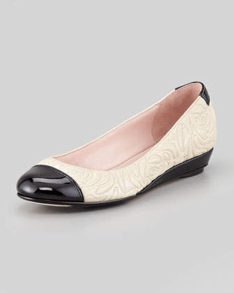 Pamona Quilted Cap-Toe Wedge Flat, Bone