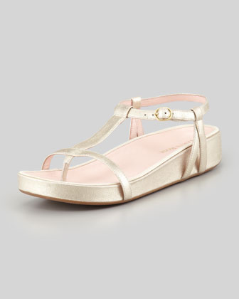Amor Metallic Footbed Thong Sandal, Soft Gold