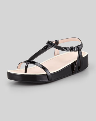 Amor Patent Thong Sandal, Black