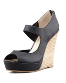 Down to the Wire Wedge Sandal, Black