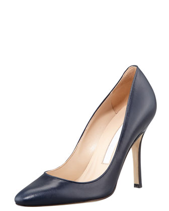 Tuccio Sam Leather Pointed-Toe Pump, Navy