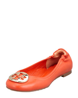 Tory Burch Reva Mestico Logo Ballerina Flat, Fire Orange