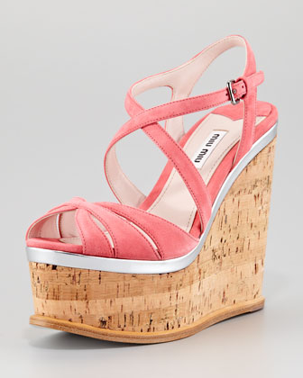 Strappy Suede Cork Wedge Sandal, Geranium