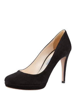 Prada Suede Almond-Toe Pump, Black