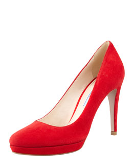 Prada Suede Almond-Toe Pump, Red