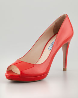 Prada Patent Peep-Toe Pump, Red