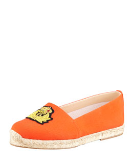 Christian Louboutin Gala Embroidered Crest Espadrille Loafer, Flame