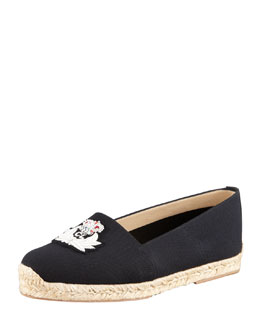 Christian Louboutin Gala Embroidered Crest Espadrille Loafer, Black