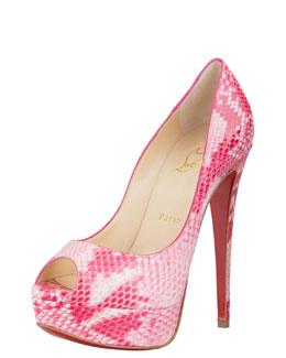 Christian Louboutin Lady Peep Python Red Sole Pump, Rose