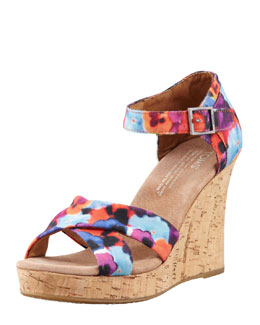 TOMS Printed Hemp Strappy Wedge Sandal, Oahu