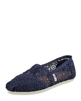 TOMS Crochet Slip-On, Navy