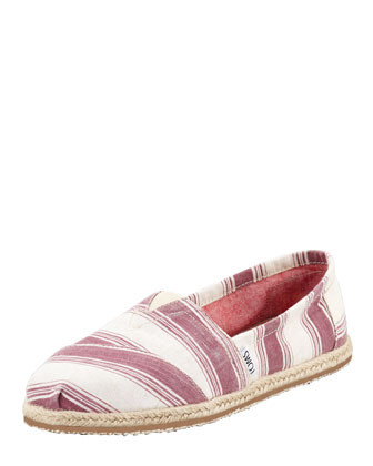 Umbrella-Stripe Espadrille Slip-On, Shiraz Red