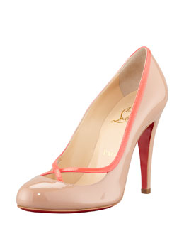 Christian Louboutin Cross Ronda Fluorescent Patent Red-Sole Pump