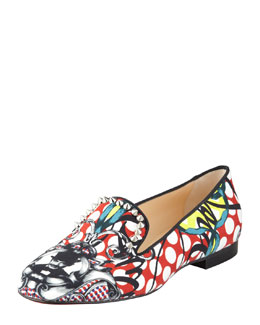 Christian Louboutin Sakouette Face Polka-Dot Fabric Loafer