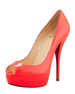 Christian Louboutin Troca Fluorescent Patent Red Sole Platform Pump, Rose