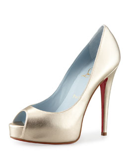 Christian Louboutin Vendome Metallic Platform Red Sole Pump