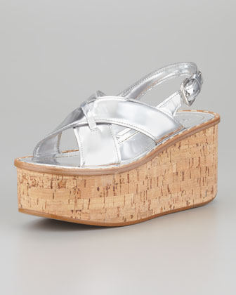 Specchio Crisscross Cork Wedge, Silver