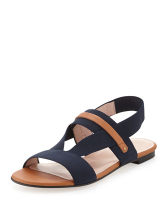HERETOSTAY Stretch Slingback Sandal, Navy