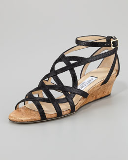 Jimmy Choo Dawn Metallic Leather and Cork Wedge, Black