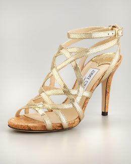 Jimmy Choo Deeta Metallic Strappy Cork Platform Sandal, Gold
