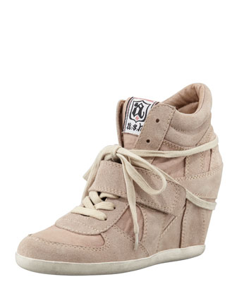 Bowie Suede & Canvas Wedge Sneaker, Chamois