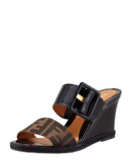 Fendi Zucca Patent Demi Wedge Sandal, Brown/Black