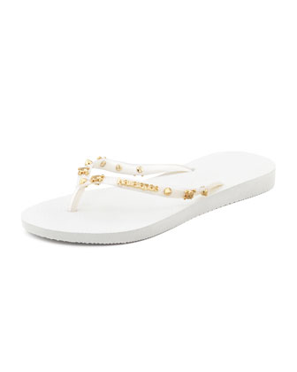 Slim Studded Flip-Flop, White