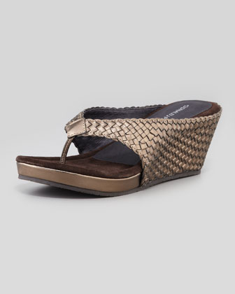 Gilles Metallic Woven Thong Wedge Sandal, Pewter