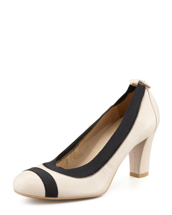 Easily Elastic-Trim Leather Pump, Pan Napa