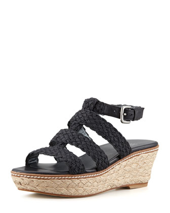 Haiti Crochet Jute Wedge Sandal, Black