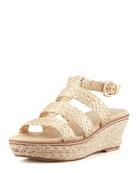Haiti Crochet Jute Wedge Sandal, Gold