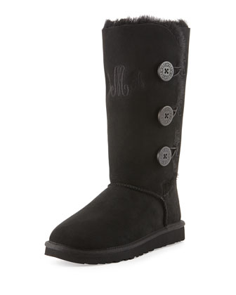 Monogrammed Bailey Button Tall Boot, Black
