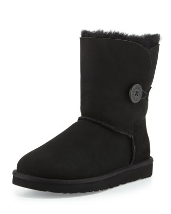 Monogrammed Bailey Button Short Boot, Black