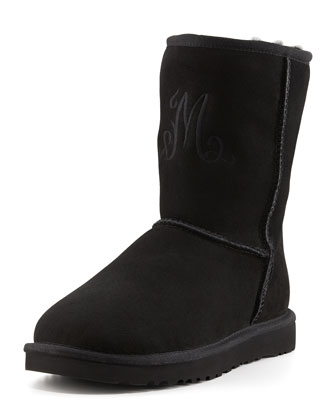 Monogrammed Short Boot, Black