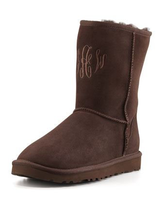 Monogrammed Classic Short Boot, Chocolate