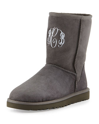 Monogrammed Classic Short Boot, Gray