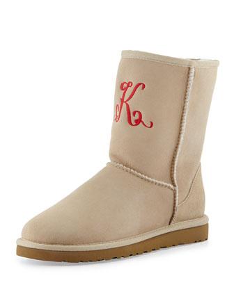 Monogrammed Short Boot, Sand