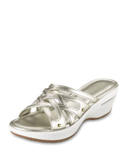 Cole Haan Air Ezra Strappy Wedge, White Gold